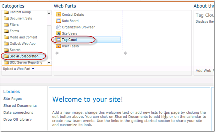 SharePoint 2010 Web Part Gallery - Tag Cloud Web Part