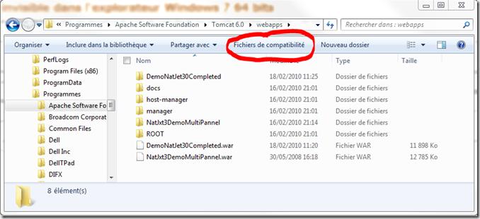 Fichier invisible dans l explorateur windows 7 64 bits for Fenetre explorateur windows 7