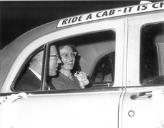 Paul & Shirley off for their honeymoon in a cab