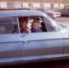 Julie in car with Grammie & Grandad, Nov. 1963