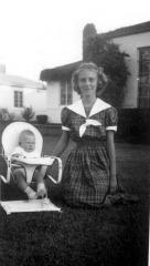 Karen & baby sister Judy Ostlund, Oct. 1951