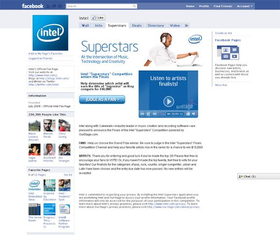 Pagina de Facebook de Intel