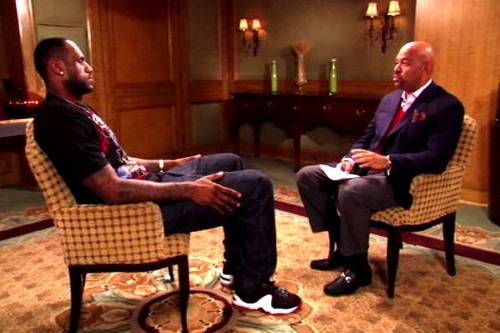 James Rocking Nike Penny 2 During ABC Halftime Interview