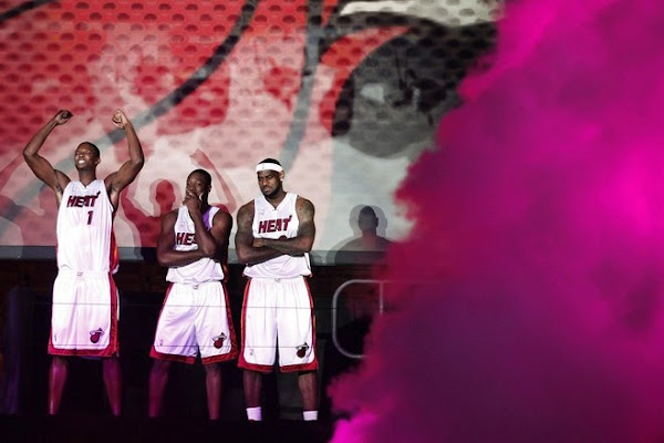 LeBron James amp Wade amp Bosh Welcoming Party with Miami Heat