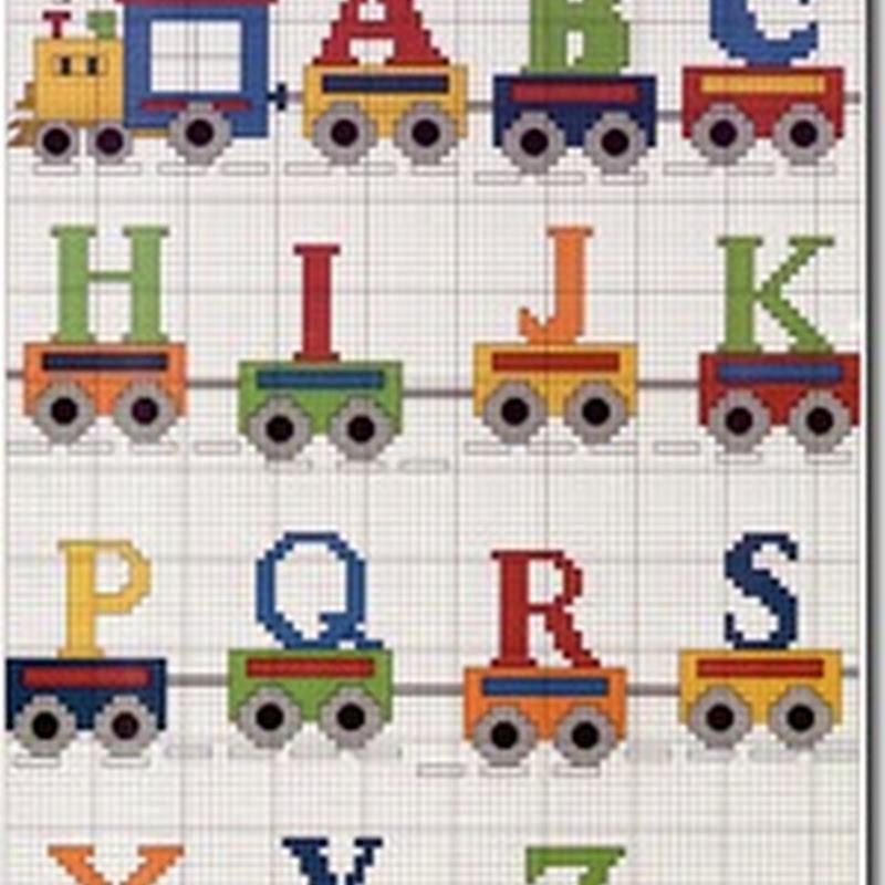 Abecedario trenes y vagones en punto de cruz