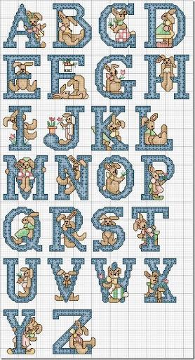 Alfabeto Conejos en punto de cruz | Gratis Punto de cruz