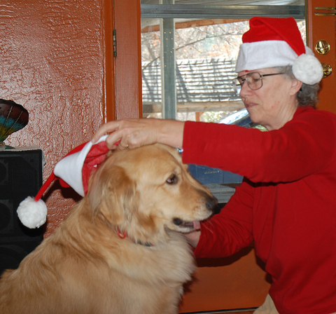 DSC_0062 oh play time cody sez as Eileen tries to put santa hat on him dgn az.jpg