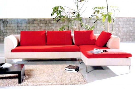 Sectional red and white modern living room sofa set