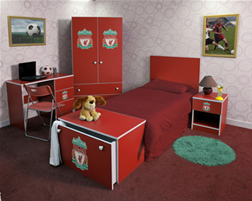 interior fc liverpool, liverpool fc bedrom, painting your bedroom liverpool red