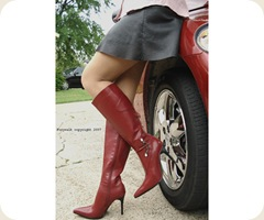 Red Fashion knee high boots