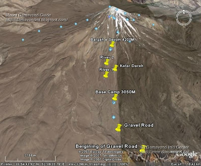 Google Earth photos for Mt Damavand south route