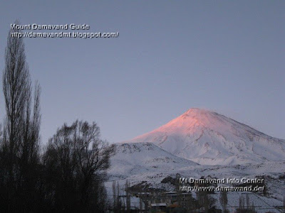 Winter Sunset Mt Damavand Polour Village, Polour Haraz Road, Photo by A. Soltani