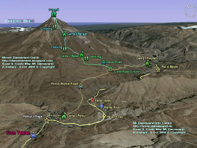South Route Map Damavand mount
