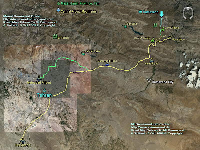 Tehran To Mt Damavand Road Map
