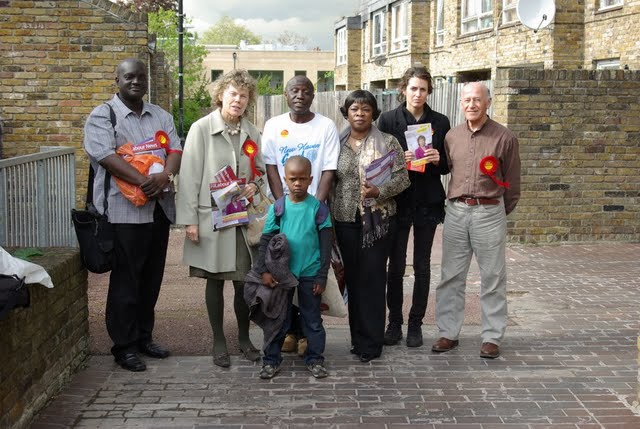 Labour team in action on Myatts North estate in Vassall Ward