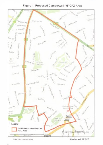 Map of proposed CPZ in Vassall Ward