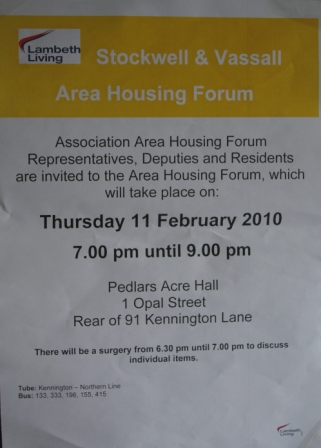 Stockwell and Vassall Area Housing Forum poster