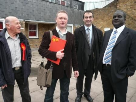 VassallAction Team members Adrian Garden and Councillor Kingsley Abrams with Councillor Steve Reed and Councillor John Kazantzis on Myatts Fields South estate