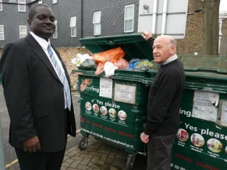 Vassall Ward Coucnillors at recycling bin on Myatts Field South