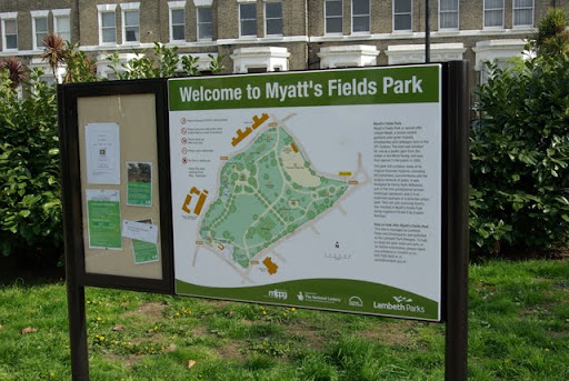 Myatt's Fields Park sign