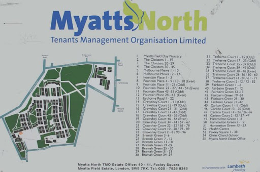 Photo of Myatts North sign, Vassall Ward, SW9