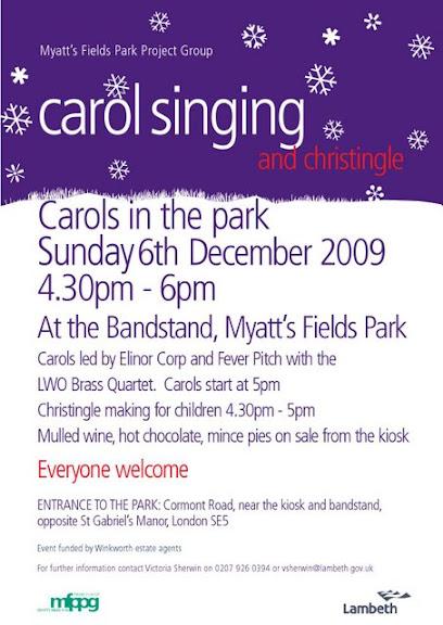 Carol singing in Myatts Field Park flyer, Vassall Ward SE5