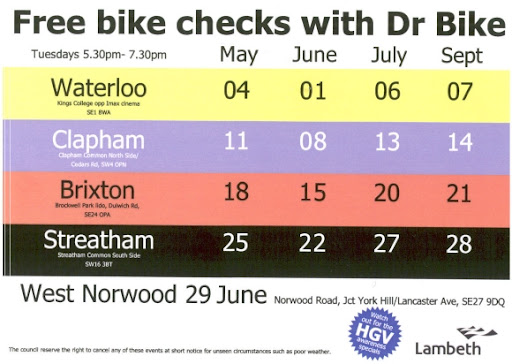 Free bike checks in Lambeth flyer