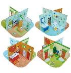 Модель из бумаги.  На японском языке с понятными схемами сборки.  Дом для кукол состоит из четырех частей: дворик...