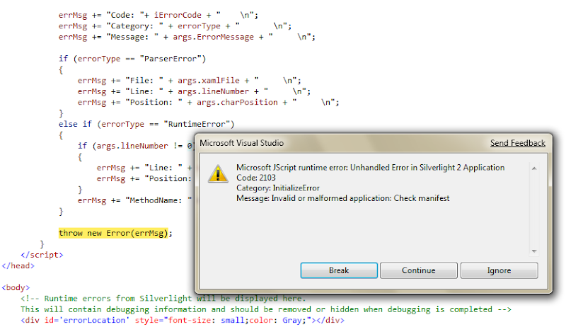 Silverlight-TestPage-Error