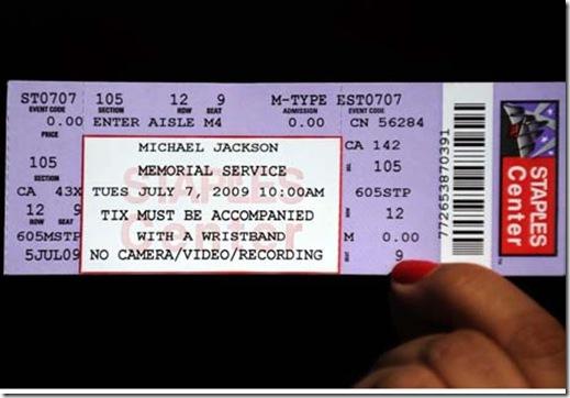 michael jackson memorial tickets