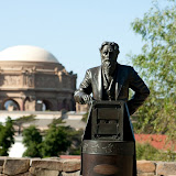 Eadweard Muybridge, motion-picture pioneer, statue on the George Lucas Campus