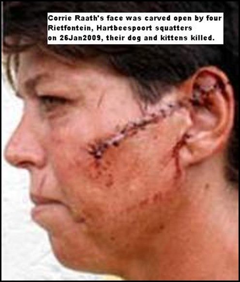 Raath Mrs Corrie Rietfontein attacked by four squatters Jan262009 Brits MadibengPulse