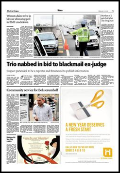 Trio nabbed in bid to blackmail ex-judge Cape Argus p5 Feb62010