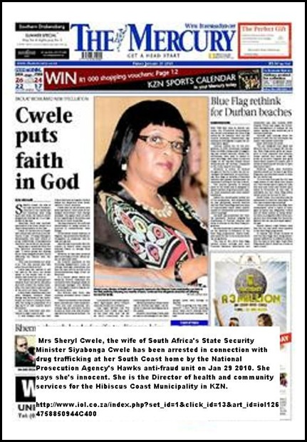 SA security minister wife Sheryl Cwele arrested for drug trafficking says she is innocent Jan292010 (2)