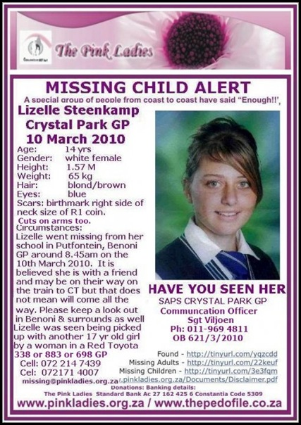 Steenkap Lizelle Crystal Park Benoni missing from school March102010 Red Toyota abductor