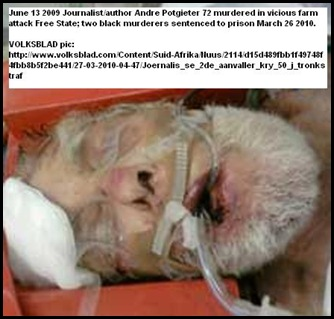 Potgieter Andre June 13 2009 farm murder journalist author two killers in prison March252010