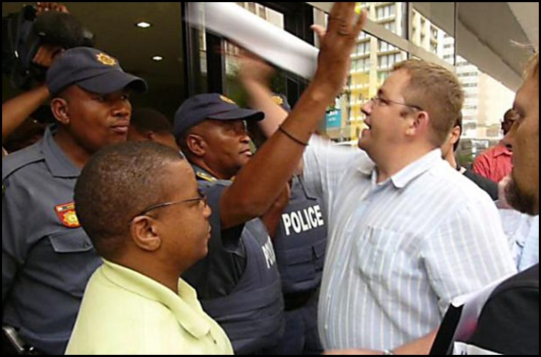 Afrikaners try to hand list of murdered farmers to Julius Malema police not well pleased