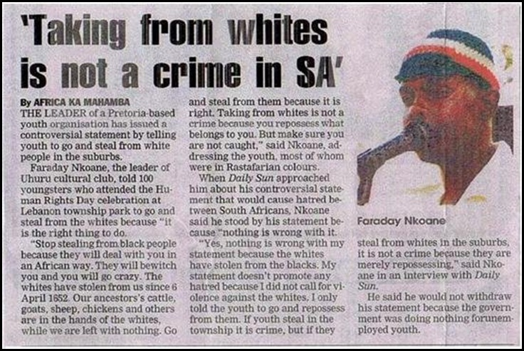 Taking from whites is not a crime sajd Faraday Nkoane Uhuru cultural club Lebanontownship Pretoria