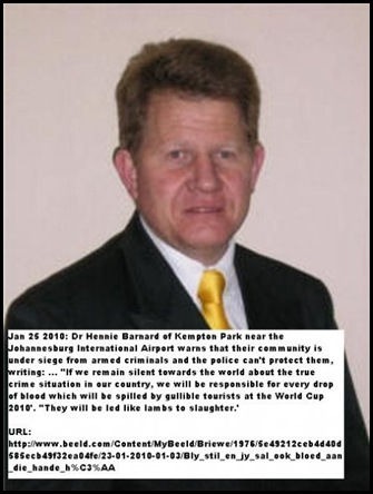 Dr Hennie Barnard Kempton Park near Joburg Airport warns tourists to stay away