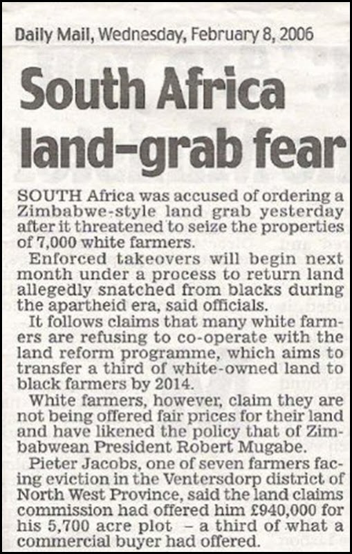 Ventersdorp NW landgrab plans Feb82006 Daily Mail report