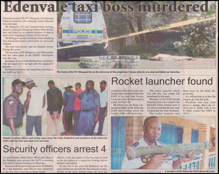 RocketLauncherFound Hurleyvale Edenvale Taxi boss murdered Horrific violence in South Africa April222010
