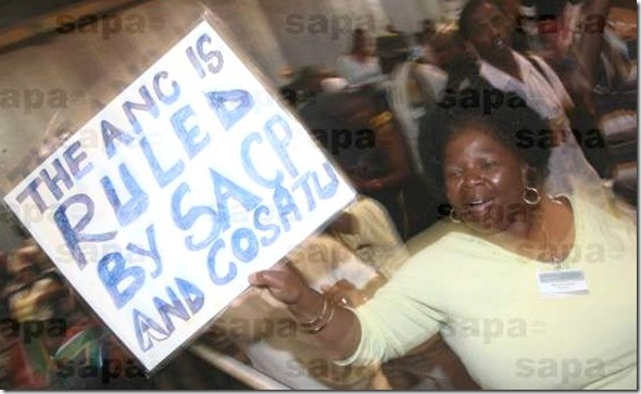 ANC is ruled by SACP and COSATU Protestor SapaPicNov12008