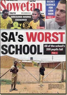 SowetanFrontPageWorstSchool