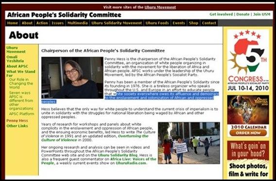 Hess Penny USA citizen Uhuru hatespeech radio supporter AfricanPeoplesSolidarityCommittee (2)