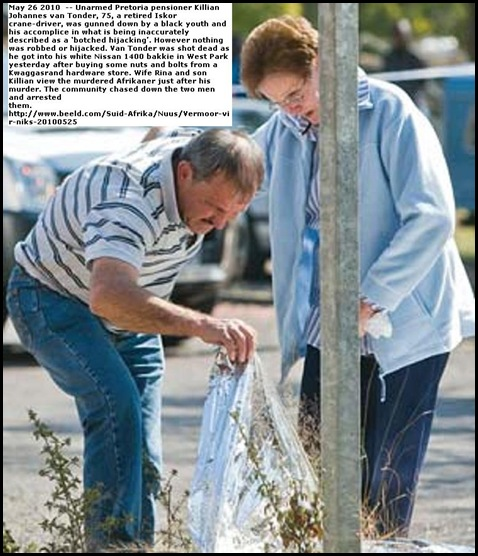 Tonder Rina son Killian look at body of murdered Killian Johannes van Tonder 75 Beeld May262010