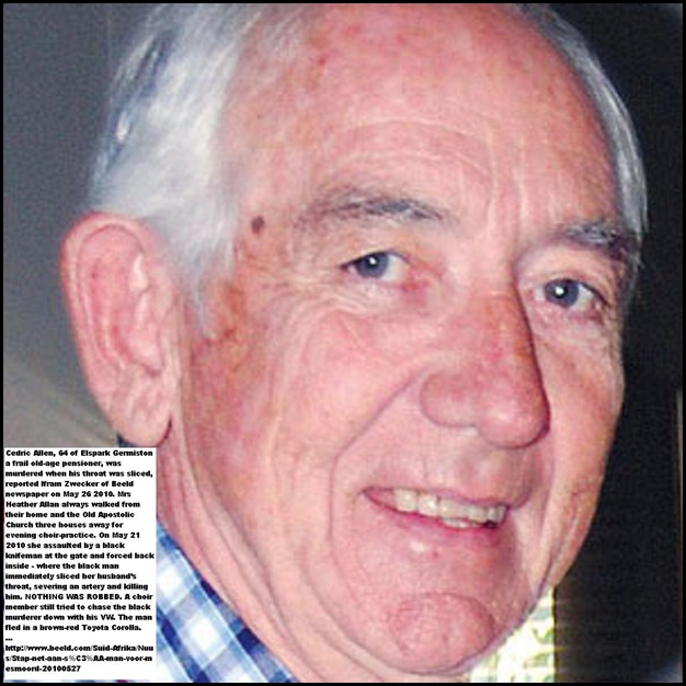 Allan Cedric 64 frail pensioner murdered Ellispark Germiston after church May262010