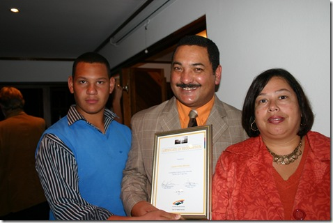 Minnaar Capt Civil Award from City of Cape Town