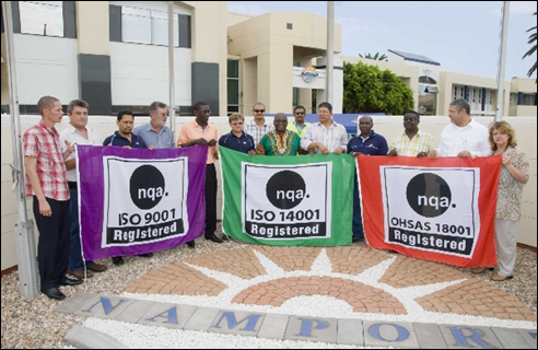Walvis Bay Namibia port ISO certification displayed by proud workers