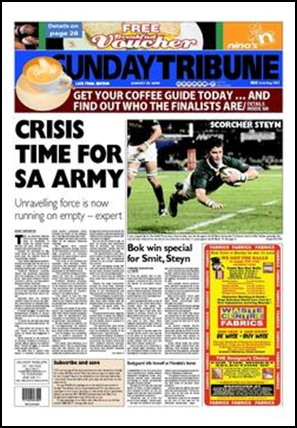 SA Army in Crisis Aug 2 2009 Sunday Tribune ZA Front Page Ed3
