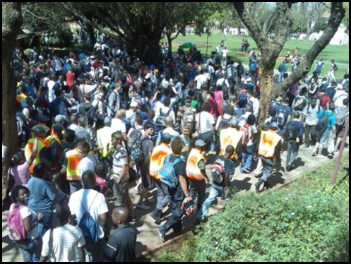 Black demonstrators disrupting Pretoria University student council elections Sept82009